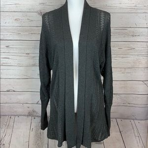 Athleta Knit Dark Gray Open Cardigan Sweater